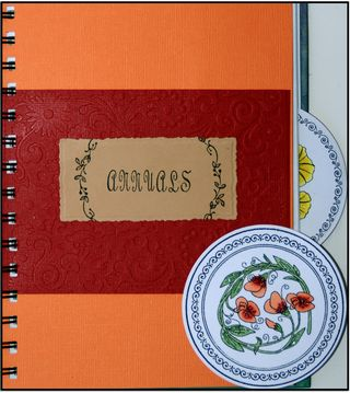 Annuals peach tab w black frame
