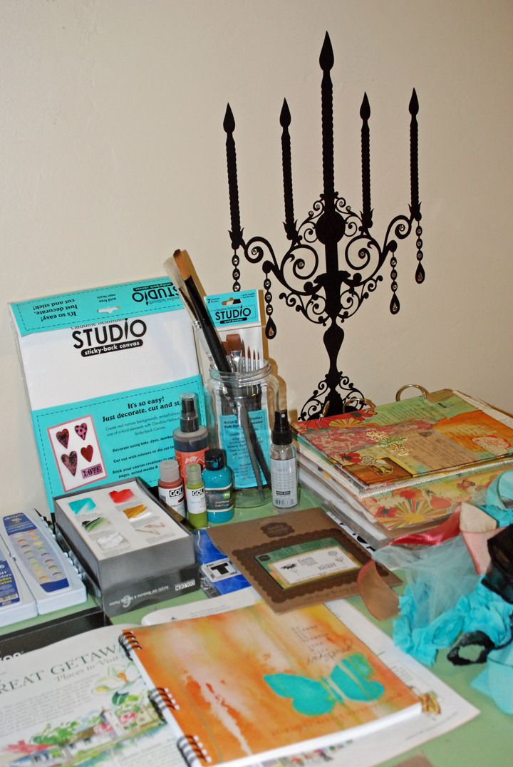 Table with inspired supplies