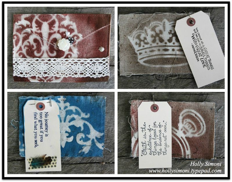 HS Canvas envelope collaged pages w frame
