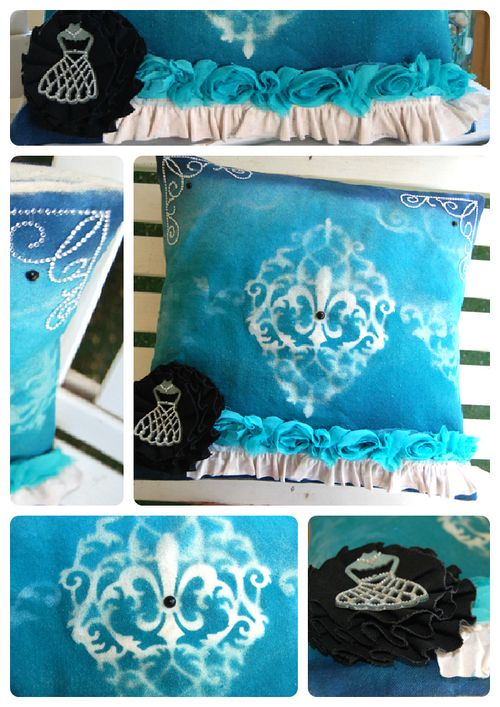 HS Canvas Stenciled pillow collage
