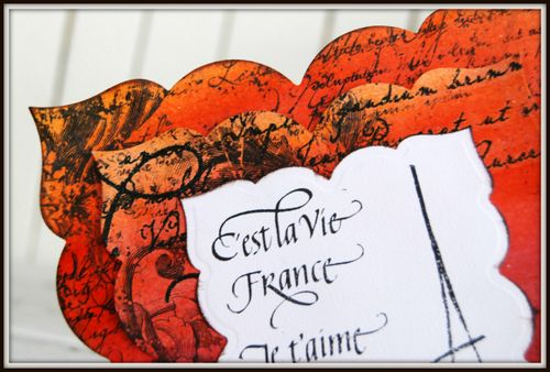 Holly Simoni Tattered Angels Paris Card orange corner