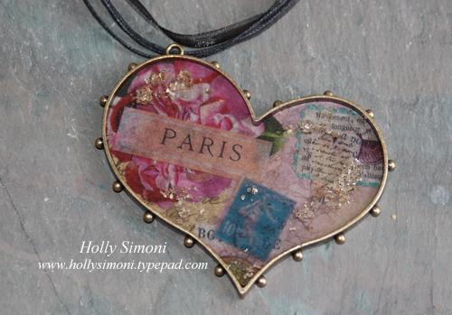 HS Heart Bezel Paris Collage necklace